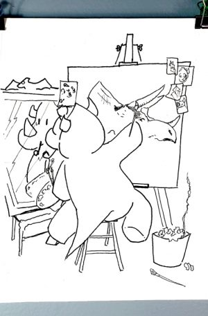 Doug the cartoon dinosaur painting a realistic triceratops as a self-portrait