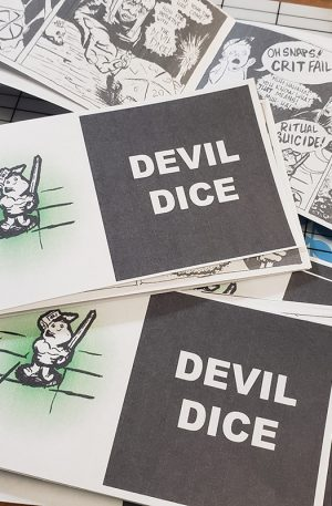Printed and folded booklets of the jack chick tract styled comic Devil Dice